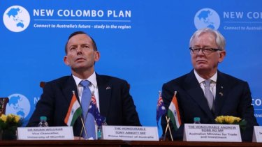 Prime Minister Tony Abbott and Trade minister Andrew Robb visited Mumbai University. Photo: Andrew Meares