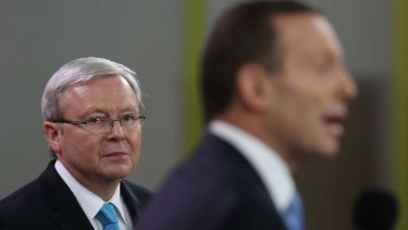 Prime Minister Kevin Rudd and Opposition Leader Tony Abbott at the leaders' debate at Rooty Hill RSL in western Sydney.