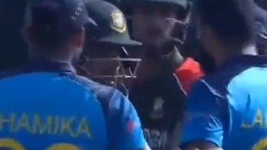 Sri Lankan paceman Lahiru Kumara got in the face of Bangladesh opener Litton Das after dismissing him.