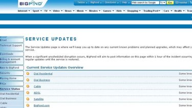 BigPond service updates indicate technical issues for customers.