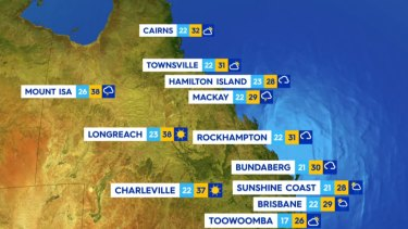 Queensland will see mostly clear weather in the north with some storms across the Central Coast. Brisbane will see a maximum temperature of 29C. Sydney will reach a maximum of 32C.