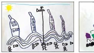 Drawings of the floods by Sydney Cove students.