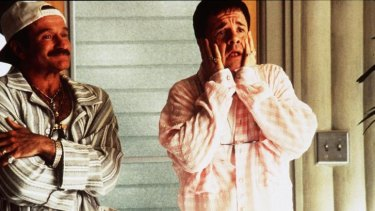 "Robin Williams, left, and Nathan Lane star in ""The Birdcage"" in which Lane displays a stereotypical ""gay voice""."
