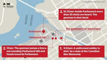 The gunman had first killed a soldier at the nearby National War Memorial before running into the parliament building.