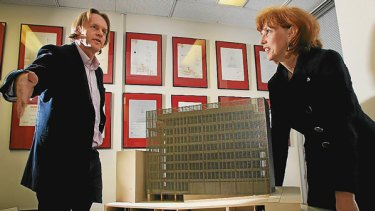 Architect Sean Godsell and RMIT vice-chancellor Margaret Gardner with the model.