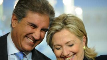 """""""Today, I am a happy and satisfied man""""...Pakistan's Foreign Minister, Shah Mehmood Qureshi, with the US secretary of state, Hillary Clinton, in Washington."""