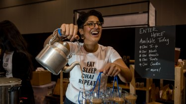 Uppma Virdi, founder of Chai Walli, a chai mix based on her Indian grandfather's recipe. Pictured at the inaugural Melbourne Tea Festival at Melbourne Convention and Exhibition Centre