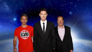 Gruen Planet host Wil Anderson, flanked by ad men Todd Sampson (left) and Russel Howcroft.