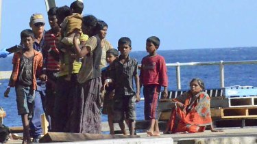 Refugees from Sri Lanka arrive for processing at Christmas Island last month.