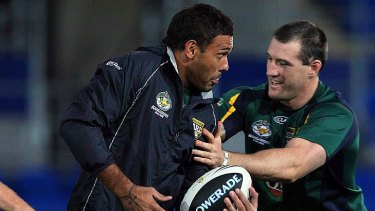 Justin Hodges and Paul Gallen at Kangaroos training.