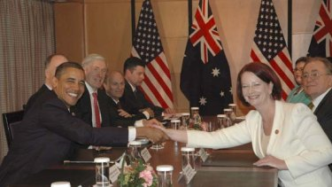 US President Barack Obama meets   Australia's Prime Minister Julia  Gillard in Yokohama.