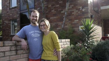 First home ... Gemma Black and Paul Chilton at their unit in Dee Why.