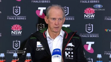 Wayne Bennett addresses the media after the South Sydney Rabbitohs' clash against the Manly Sea Eagles in week two of the Finals.