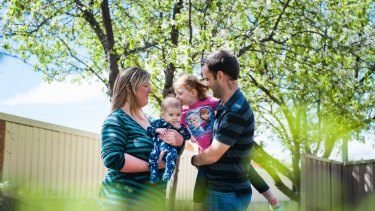 Alicia and Jeremy Spindler and children Kylah, three, and Layken,  four months. Both children were conceived through IVF at the Canberra Fertility Centre.