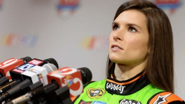 Unfazed: NASCAR Sprint Cup Series driver Danica Patrick speaks to the media in Daytona Beach.