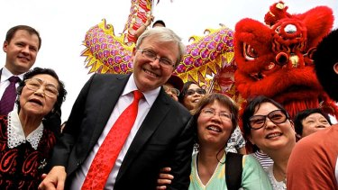 Comedy routine ... Kevin Rudd proved a popular speaker at the Lung Po Shan Chinese memorial gardens in Minchinbury.