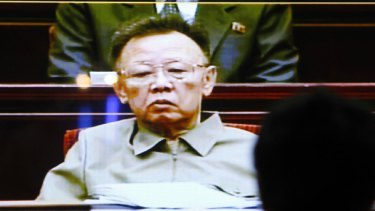 Kim Jong-il as seen on North Korean state television last Wednesday.