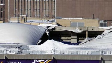 Hole in the roof ... the game between the Minnesota Vikings and New York Giants has been rescheduled.