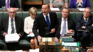 Prime Minister Tony Abbott during question time on Monday.