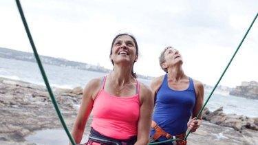 Enough rope ... Annie Doyle, left, and Amanda Jones prepare for their Everest assault.