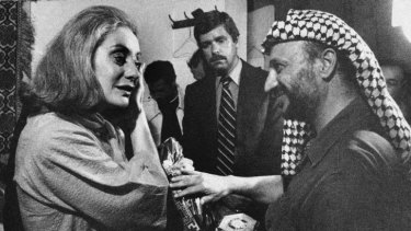 Walters with Yasir Arafat in Beirut in 1977.
