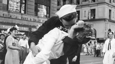 Hoax ... some have suggested the picture was made to look like this famous shot of a sailor kissing a nurse in Times Square in New York.