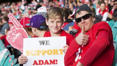 Fans arrived at the ground early to show support for Goodes.