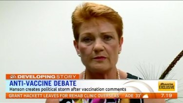 Pauline Hanson has apologised on Sunrise for claiming there is a test for vaccination allergies, but maintains parents should 'do their own research' on vaccines.