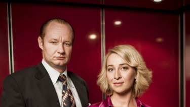 Rob Carlton as Kerry Packer and Asher Keddie as Ita Buttrose in 'Paper Giants: The Birth of Cleo'.