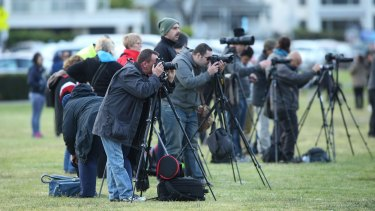 Crowds hoping for a view of the 'Supermoon' in Melbourne.