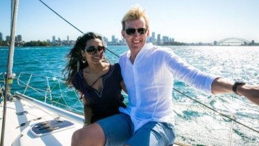 Tannishtha Chatterjee (Meera) and Brett Lee (Will) in <i>UnIndian</i>.