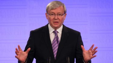 Prime Minister Kevin Rudd addresses the National Press Club in Canberra.