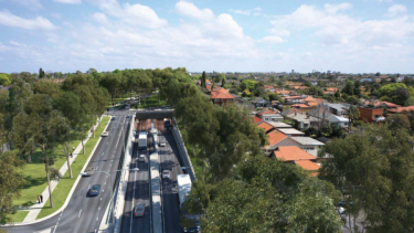 An artist's impression of the Wattle Street interchange, looking south towards Parramatta Road above the portal entry and exit ramps.