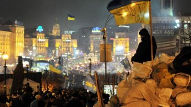 Protests continue: Masses converge on Independence Square in Kiev.