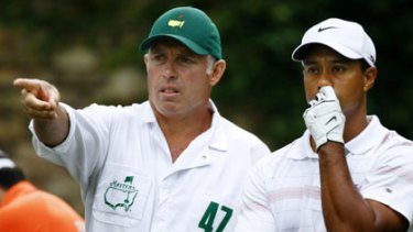 There goes the season: Steve Williams with his boss Tiger Woods.