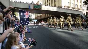 An Anzac Day march in Brisbane.