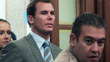 Troubled times: Wayne Carey appears in a US courthouse in 2008, charged with battery.