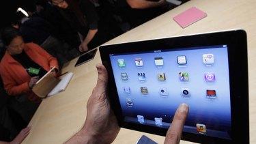 Many app choices ... Apple's new iPad on display last week.