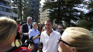 He's laughing. Mike Baird in Manly on Sunday.
