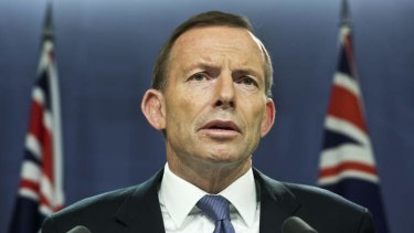 PM Tony Abbott at Sunday's media conference.