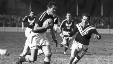 Rex Mossop playing for Manly against Wests, 1959.