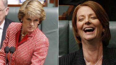 Blue steel ...  Julie Bishop delivers a withering look while Julia Gillard sees the funny side during question time yesterday.