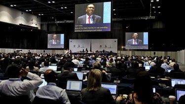 Hamdoun Toure, Secretary General of the ITU, speaks at the World Conference on International Telecommunication.