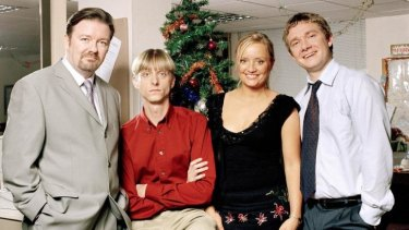 Enshrined: Martin Freeman (far right) with Ricky Gervais, MacKenzie Crook and Lucy Davis in <i>The Office</i>.