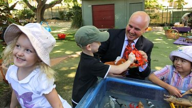 Play time: Minister Adrian Piccoli visits KU James Cahill Preschool in Waterloo to announce changes in preschool funding.