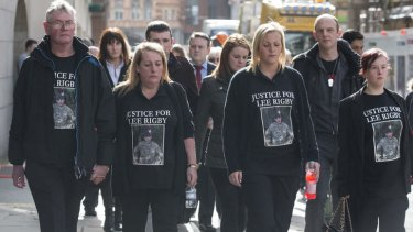 (Left to right) Lee Rigby's stepfather Ian Rigby, mother Lyn Rigby, and sisters Sara McClure  and Chelsea Rigby, arrive at court before the sentencing.