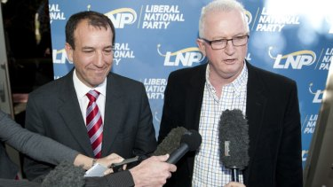 LNP president Bruce McIver (R) speaks to the media with Mal Brough at the Caloundra RSL after Broughwon the LNP preselection to contest the federal seat of Fisher on July 29, 2012