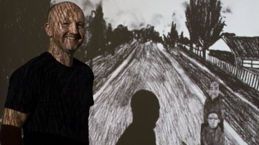 Richard Lewer's with his Blake Prize-winning work <i>Worse luck…I am still here</i>.