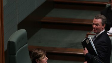 Manager of Opposition Business Christopher Pyne is suspended from Question Time by Acting Speaker Anna Burke.