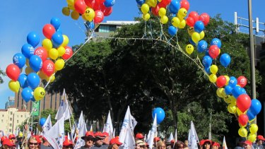 AMWU members march in Brisbane's Labour Day parade on May 7, 2012.